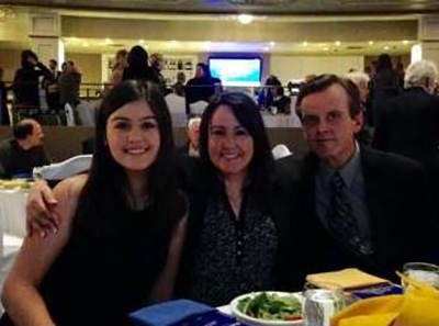 Jenna Sigurdson, left, with her parents Karren and Blair at Manitoba Philanthropy Awards luncheon.