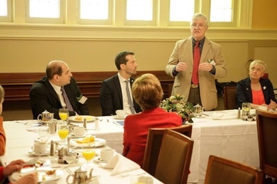 Sprague Plato shares his story at a Parliamentary breakfast in Ottawa on May 4, 2017.