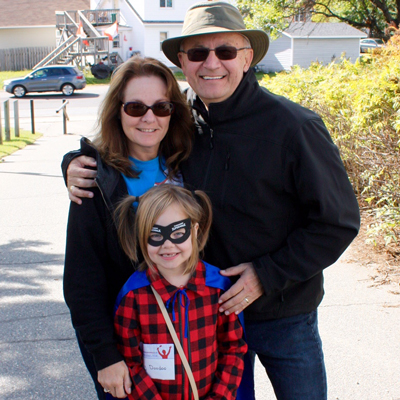 Cindy and Garry Shyminsky with granddaughter Penelope at Parkinson SuperWalk in 2015.