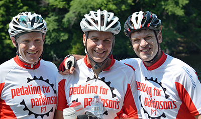 Dave Newall, left, Peter Istvan, centre, and Phil Jones at the 2016 Pedaling for Parkinson's event.