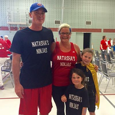 Natasha McCarthy with her husband Aaron and daughters Samantha and Izabelle, as Natasha's Ninja's at Parkinson SuperWalk 2016.