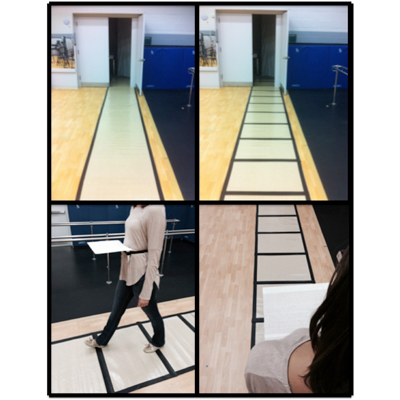 Experiment pathways with and without visual cues and a devise to block the sight of leg movements.
